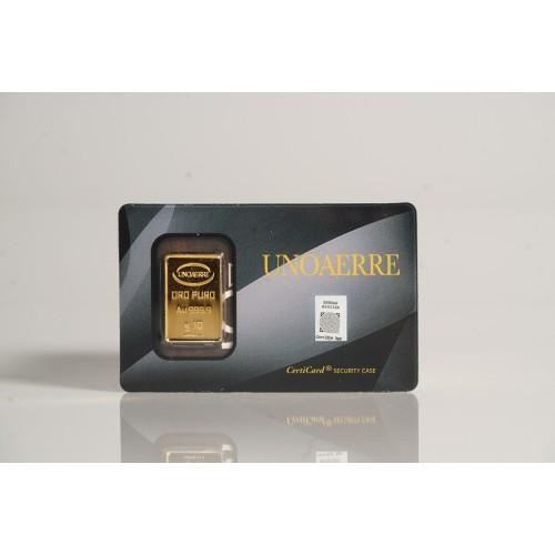 Lingotto UNOAERRE in Oro puro 999,9 ‰ dal peso di 10 Grammi per investimento.