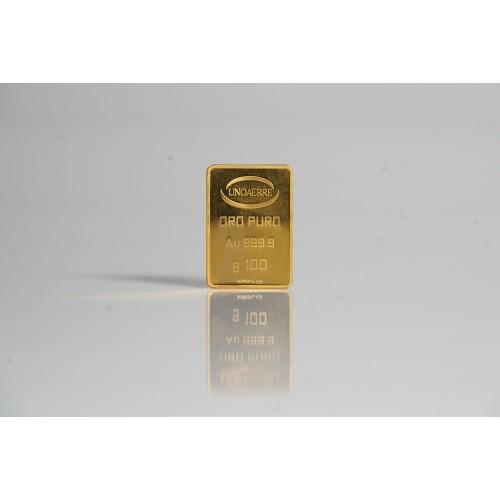 Lingotto UNOAERRE in Oro puro 999,9 ‰ dal peso di 100 Grammi per investimento.