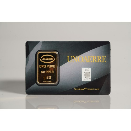Lingotto UNOAERRE in Oro puro 999,9 ‰ dal peso di 20 Grammi per investimento.