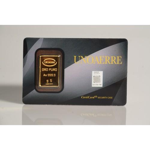 Lingotto UNOAERRE in Oro puro 999,9  ‰ dal peso di 5 Grammi per investimento.