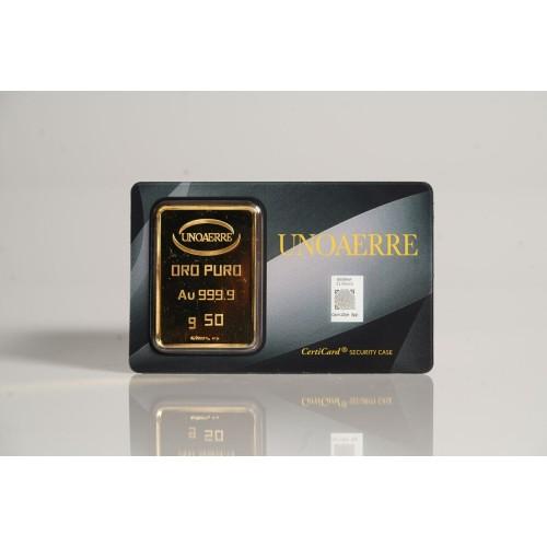Lingotto UNOAERRE in Oro puro 999,9 ‰ dal peso di 50 Grammi per investimento.